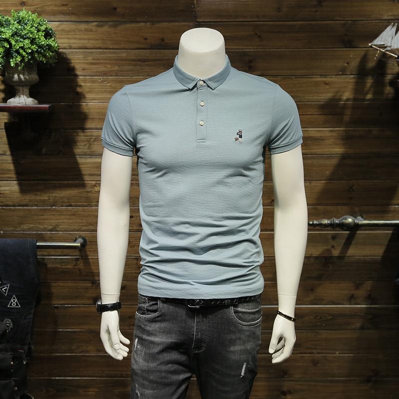男士polo衫短袖2019夏季新款刺绣夏装翻领修身保罗衫半袖T恤潮流