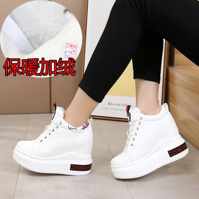 加绒小白鞋女冬季保暖棉鞋厚底内增高女鞋11cm超高跟松糕鞋休闲鞋