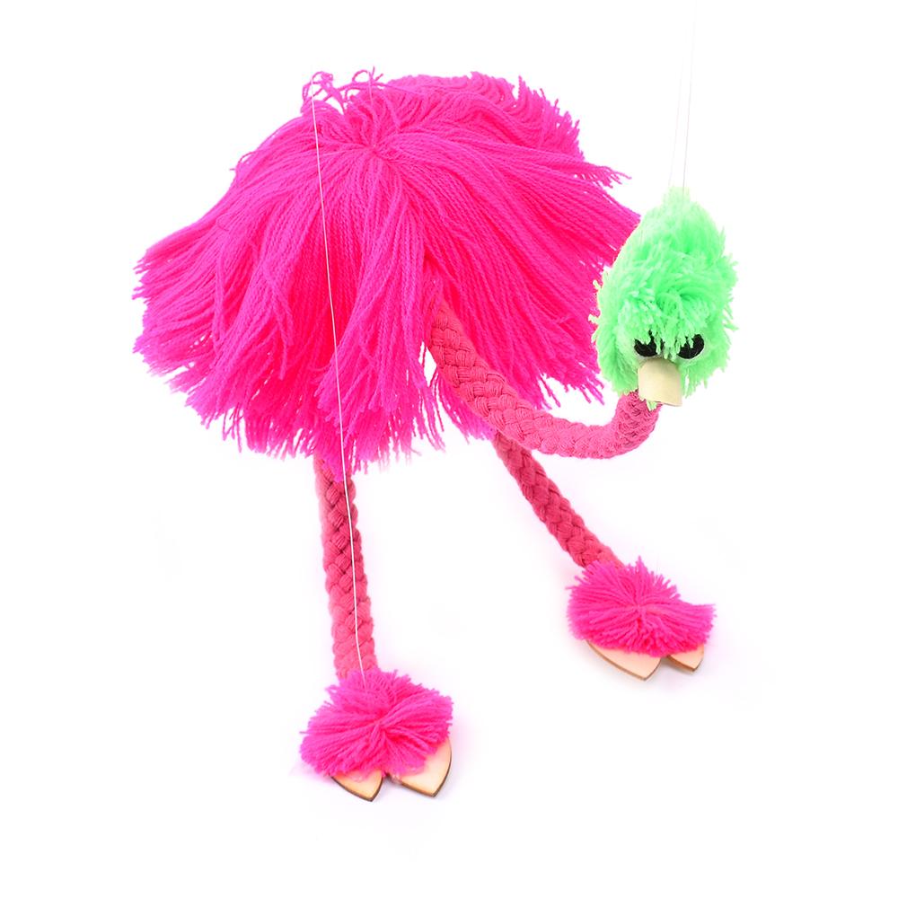 新款提线木偶鸵鸟 拉线玩具 牵线鸵鸟好玩搞笑 手工制作 木偶玩具