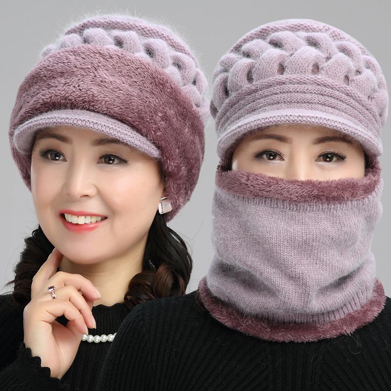 中老年人帽子女冬天毛线连体帽老人奶奶帽女士冬季可爱保暖妈妈帽1元优惠券