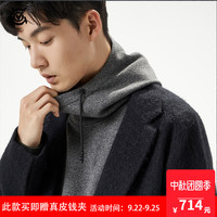VGO潮牌男士羊毛毛呢大衣韩版黑色冬季毛呢外套时尚情侣中长款新