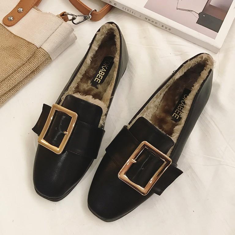 内里加绒平底鞋