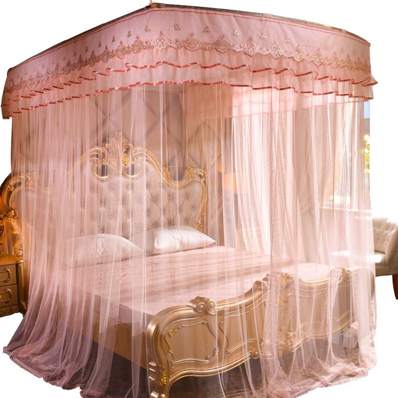 u型伸缩蚊帐1.5米1.8m床双人家用公主风三开门1.2加密厚宫廷支架