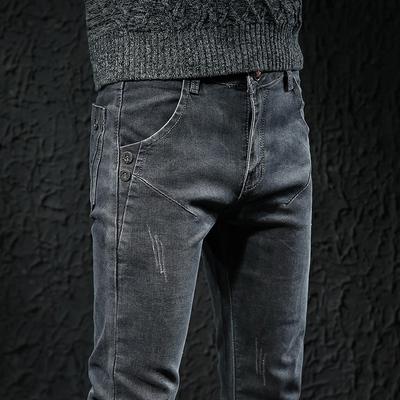 春夏季灰色牛仔裤男士青年休闲长裤子男韩版修身小脚弹力潮牌男裤
