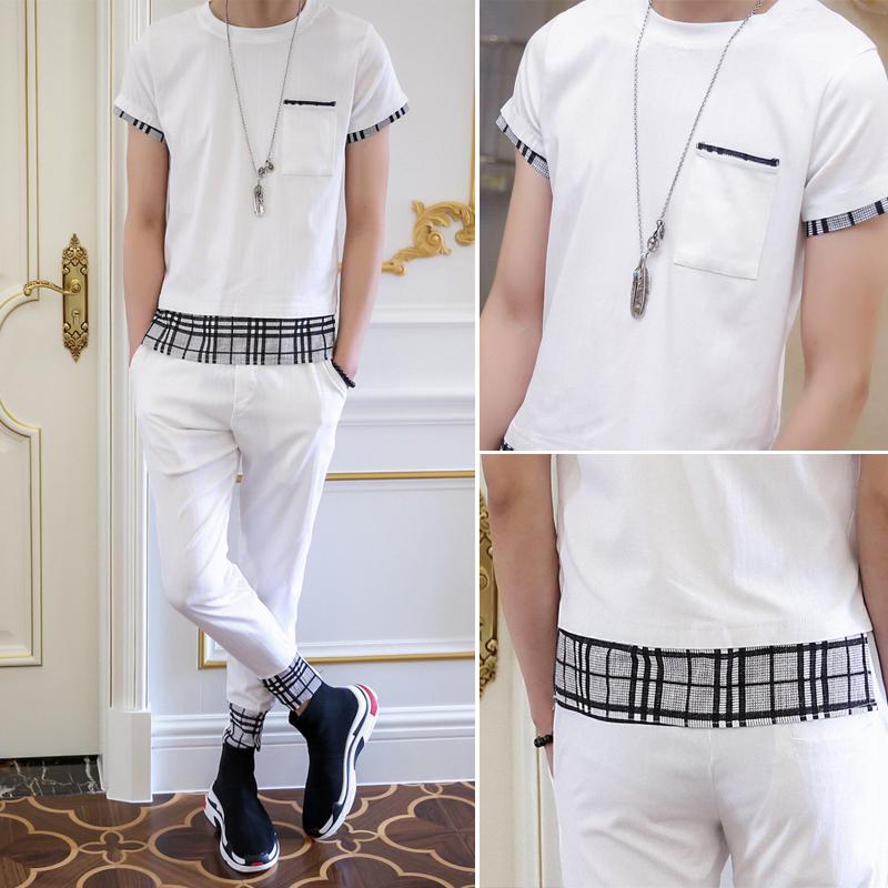 2018夏季短袖套装男士韩版修身休闲运动套装束脚哈伦裤两件套薄款