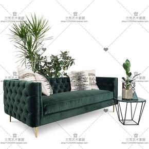 美式乡村拉扣三人位布艺沙发北欧小户型客厅双人简约组合沙发