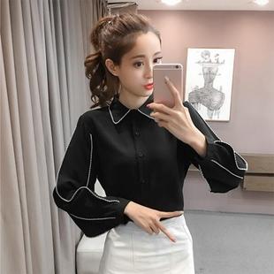 撞色花边衬衫女韩范2018春装时尚修身大码长袖打底黑白色雪纺上衣