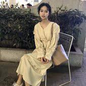 连衣裙显瘦仙女裙蛋糕裙长裙春秋女装 韩版 学生 气质中长款 V领长袖图片