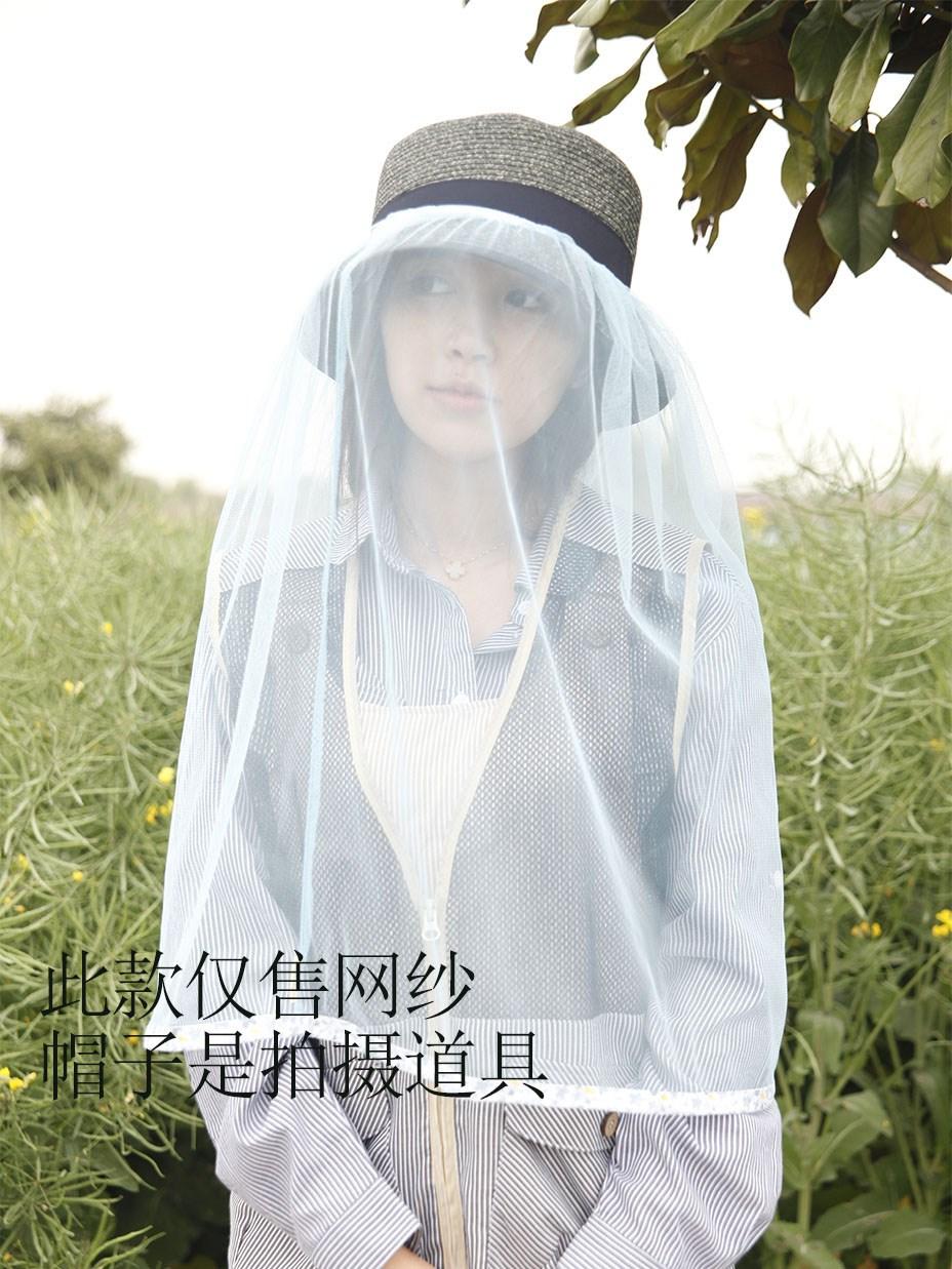 夏季热销男女通用户外防虫防尘网状头罩面纱搭配太阳帽防蚊头罩