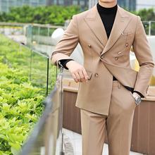 商务休闲双排扣春夏西装男士韩版修身时尚绅士长袖英伦百搭西服潮