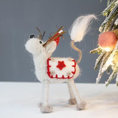 莘蝶 圣诞节桌面傲娇麋鹿摆件迷你圣诞树小鹿公仔娃娃挂件装饰品