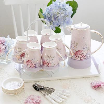 家用水杯套装陶瓷欧式水具杯具 茶壶茶杯客厅杯子简约送礼带托盘