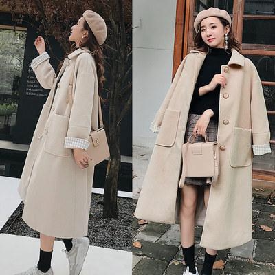 毛呢大衣女2018冬季新款赫本风加厚加棉羊毛妮中长款过膝羊绒外套