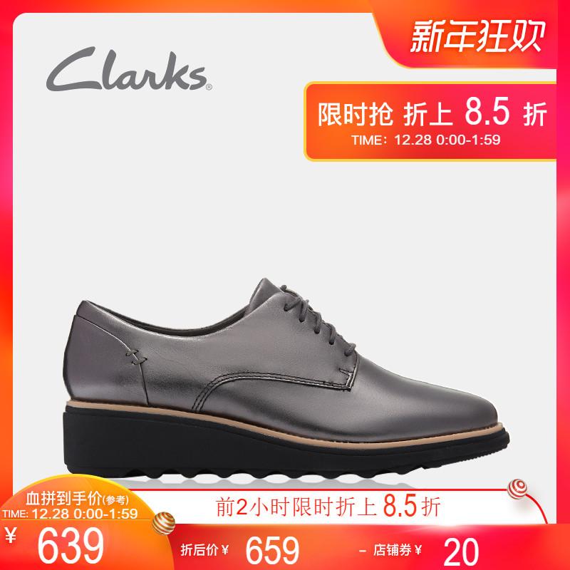 clarks其乐女鞋秋冬季18新款SharonNoel英伦厚底坡跟布洛克单鞋女