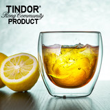 Tindor/Tiandai double-layer heat-resistant glass cup cup cup tasting cup cold drink cup beer cup single pack