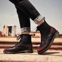 飞力步马丁靴男加绒保暖男士短靴子男英伦高帮鞋工装靴复古男鞋子