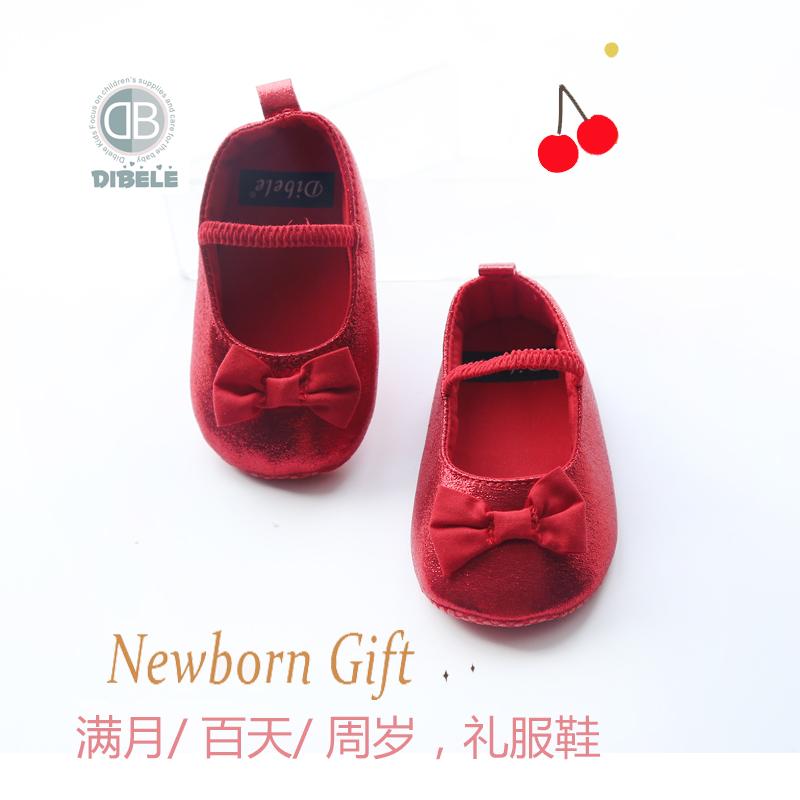婴儿公主学步鞋宝宝鞋子0-1宝宝学步鞋春秋婴儿百天满月周岁公主