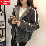 加绒加厚棒球服棉衣少女2018新款中学生冬季韩版BF蝙蝠袖棉服外套
