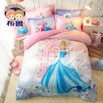 儿童磨毛四件套迪士尼纯棉被套加厚磨毛卡通1.2米床上用品三件套