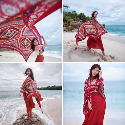 纱巾夏季茶卡盐湖百搭丝巾女防晒海边沙滩巾超大围巾披肩两用外搭