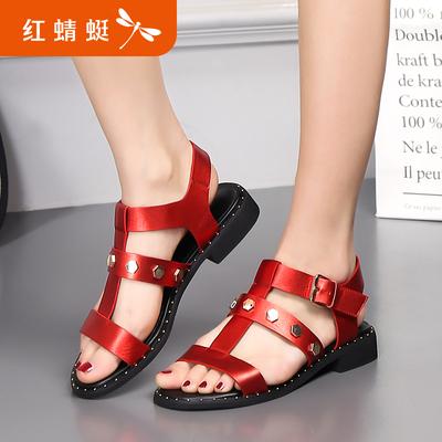红蜻蜓真皮女鞋夏季新款正品时尚铆钉镂空露趾罗马女凉鞋断码清仓