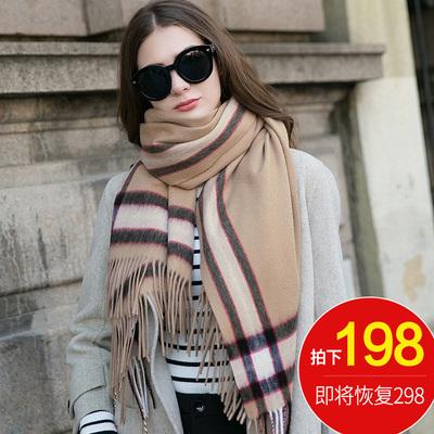 羊绒围巾女秋冬季韩版百搭加厚冬天长款英伦双面格子100%羊毛潮流