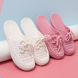 欧美时尚外穿包头凉拖鞋女夏季软底防滑洞洞鞋白色休闲沙滩凉拖鞋图片