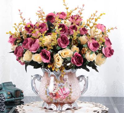 北欧式客厅仿真花摆件 餐桌茶几绢花摆设假花装饰品干花盆栽花艺