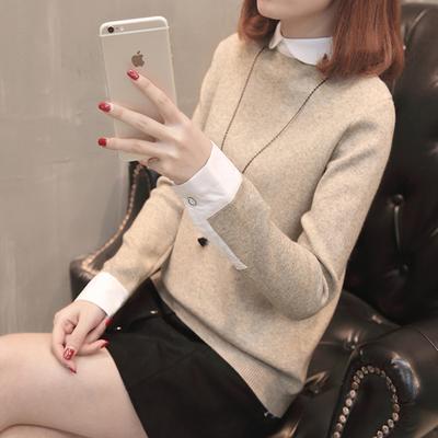 帛衣绣袄2017新款韩版方领直筒时尚毛衣百搭女装秋冬装上衣