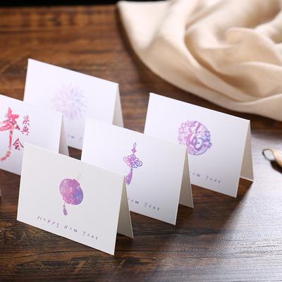 新年春节贺卡创意贺卡定制空白小卡片通用猪年感恩祝福贺卡10个装