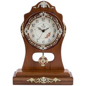 座钟客厅 钟表台钟实木静音卧室桌钟欧式田园仿复古摇摆坐式坐钟