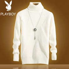 Playboy high-collar sweater male Korean version winter fleeced and thicker 2018 new long-collar slim knitted sweater and sweater