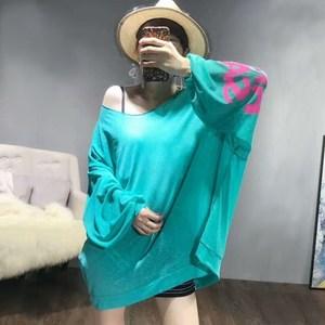 图片:韩国夏季宽松网纱蝙蝠衫纯色时尚百搭上衣圆领短款女士体恤防晒衫