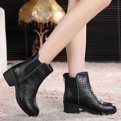 头层牛皮真皮春秋靴中跟鞋短靴洞洞女靴马丁靴春款靴子粗跟女鞋子