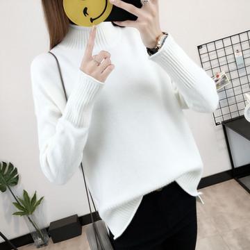短款高领白色毛衣女秋冬季韩版宽松套头打底衫线衣针织衫加厚外套