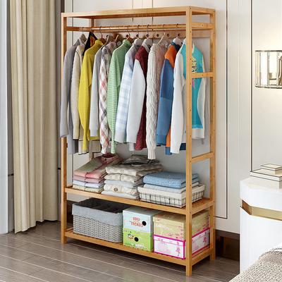 简易衣帽架简约现代经济型衣柜挂衣架落地楠竹实木创意衣架子卧室