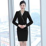 Hotel front desk catering staff set female long sleeve temperament slim reception foreman work clothes overalls autumn and winter clothing