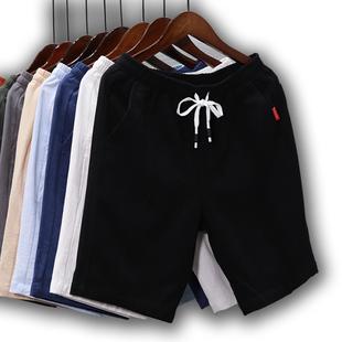 男夏季运动5五分裤 短裤 宽松沙滩裤 大裤 七分休闲中裤 子男士 衩潮黑
