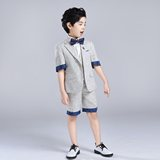 Inmyopinion 2019 Korean version of cotton and linen summer short children's suit boys show show suits gowns