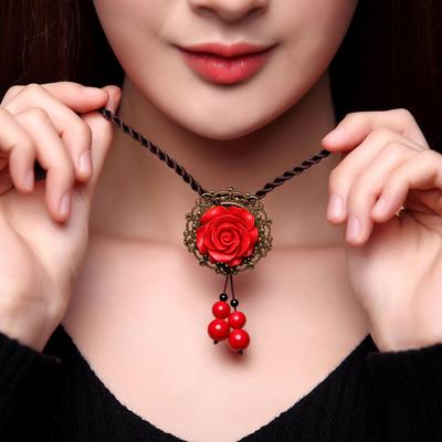 漆雕立体红色玫瑰花短款项链民族风毛衣链百搭简约复古女秋冬挂链