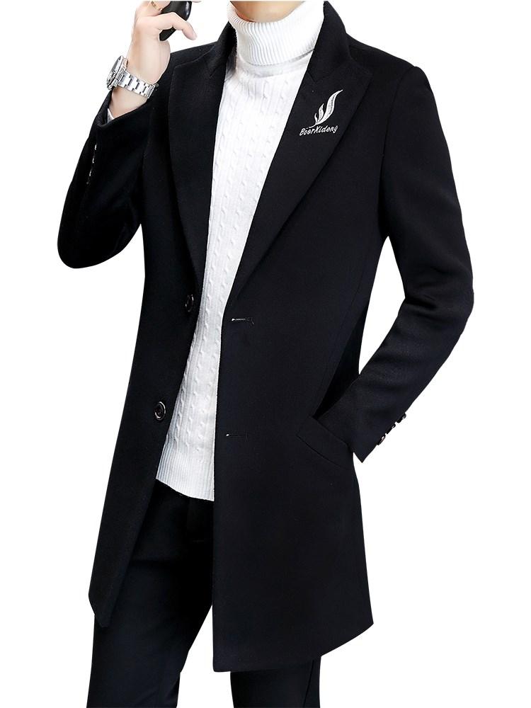 男士风衣韩版春秋毛呢大衣男中长款呢子外套冬季休闲男装2018新款