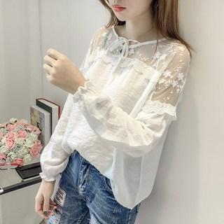 蕾丝t恤女长袖春季韩版亚麻上衣女装大码宽松短款小衫棉麻打底衫