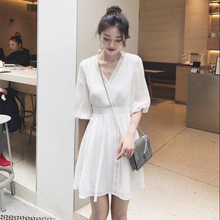 欧洲站2019夏装新款女装韩版V领雪纺连衣裙休闲气质修身显瘦裙子