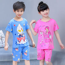 Children's pajamas, short sleeves, boys'and girls' clothes, children's summer and autumn baby cartoon suits