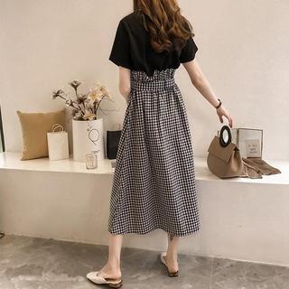 女装2019新款潮适合胖女人穿的心机套装大码时髦显瘦连衣裙两件套