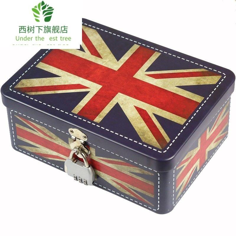 创意家用小型保险箱迷你金属密码盒带锁保险柜存钱储蓄罐收纳铁盒