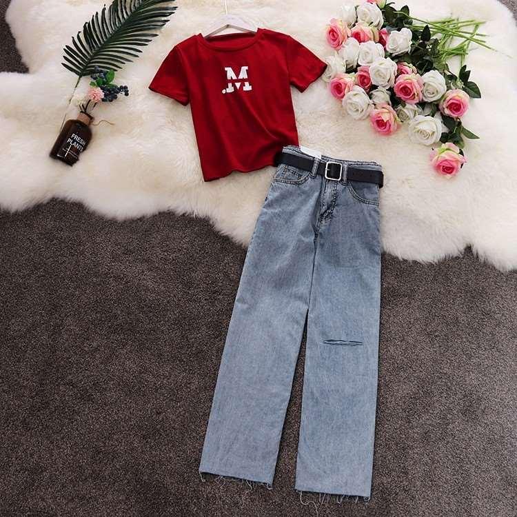 2019夏季新款港风短袖字母T恤+高腰破洞薄款直筒牛仔裤套装女1634