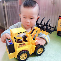 Children's toy engineering car large music story inertia simulation bulldozer excavation hook machine baby boy excavator
