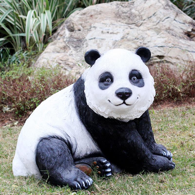 玻璃钢仿真大熊猫雕塑摆件 款二