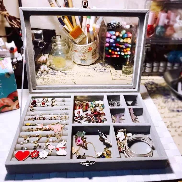 玻璃透明植绒面首饰收纳盒简约小饰品项链耳钉耳环多格欧式公主